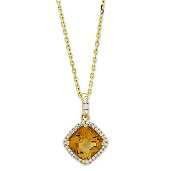 14K Yellow Gold Citrine and Diamond Halo Pendant, 18""