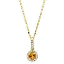 14K_Yellow_Gold_Citrine_and_Diamond_Halo_Pendant,_18""