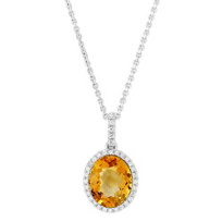 14K_White_Gold_Oval_Citrine_and_Round_Diamond_Halo_Pendant,_16""