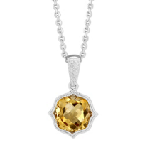 14K_White_Gold_Checkerboard_Citrine_Pendant_With_Milgrain_Bezel,_18""