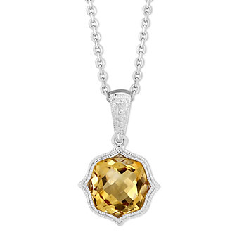 14K White Gold Checkerboard Citrine Pendant With Milgrain Bezel, 18""