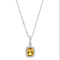 14K_Yellow_Gold_Checkerboard_Citrine_&_Round_Diamond_Pendant,_18""