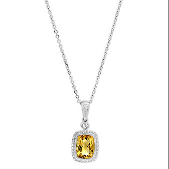 14K Yellow Gold Checkerboard Citrine & Round Diamond Pendant, 18""