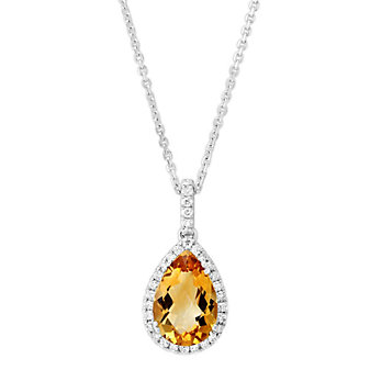 14K White Gold Pear Shape Citrine and Round Diamond Pendant
