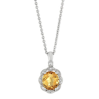14K White Gold Oval Citrine and Round Diamond Halo Pendant