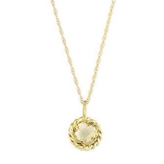 14K Yellow Gold Round Checkerboard Citrine Twisted Bezel Pendant, 18""