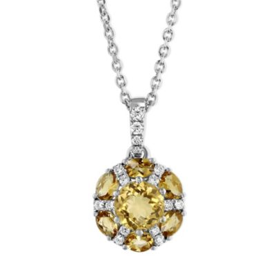 14K White Gold Checkerboard Round/Oval Citrine & Diamond Circle Pendant, 18""