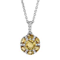 14K_White_Gold_Checkerboard_Round/Oval_Citrine_&_Diamond_Circle_Pendant,_18""