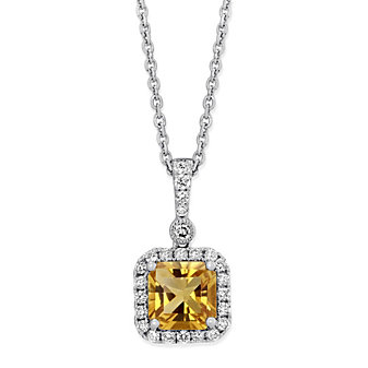 14K White Gold Cushion Citrine and Round Diamond Halo Pendant, 18""