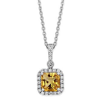 "14K White Gold Cushion Citrine and Round Diamond Halo Pendant, 18"""