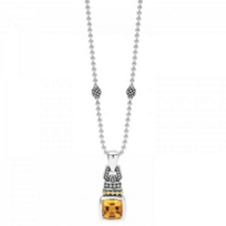 lagos_sterling_silver_&_18k_yellow_gold_caviar_color_smoky_quartz_pendant,_18""