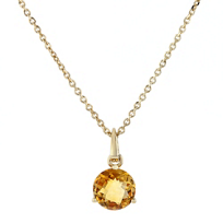"14k_yellow_gold_round_citrine_solitaire_pendant,_18""__"