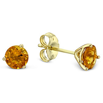 14K Yellow Gold Round Citrine Stud Earrings, 5mm