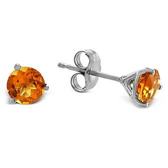 14K White Gold Round Citrine Stud Earrings, 5mm