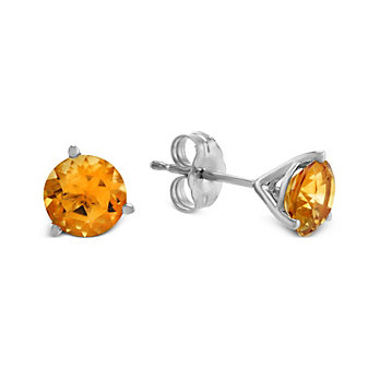 14K White Gold Round Citrine Stud Earrings, 6mm