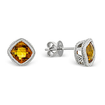 14K Cushion Checkerboard Citrine Bezel Set Earrings