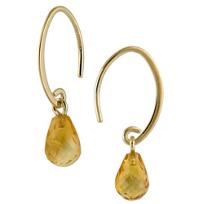 14K_Yellow_Gold_Citrine_Briolette_Drop_Earrings