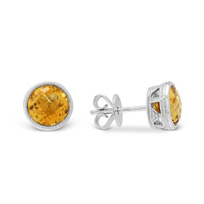 14K_Round_Checkerboard_Citrine_Bezel_Set_Earrings