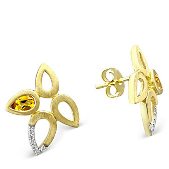 14K Yellow Gold Pear Shape Citrine and Round Diamond Floral Earrings