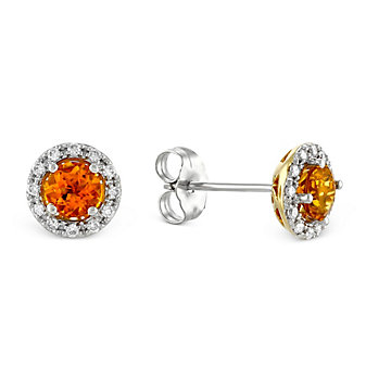 14K Yellow and White Gold Citrine and Round Diamond Halo Earrings