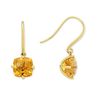 14K Yellow Gold Citrine Drop Earrings