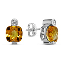 14K_White_Gold_Checkerboard_Cushion_Citrine_and_Diamond_Earrings