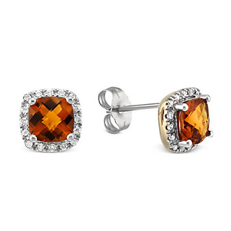 14K Yellow and White Gold Checkerboard Citrine and Diamond Frame Earrings