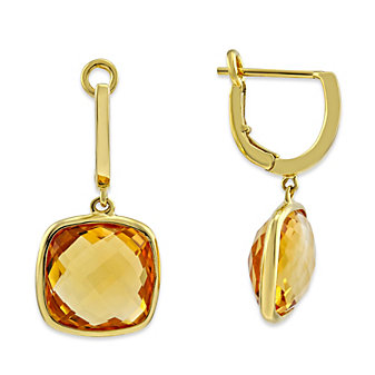 14K Yellow Gold Checkerboard Cushion Citrine Drop Earrings