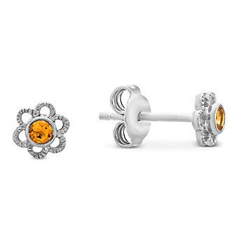 Sterling Silver Child's Citrine Flower Earrings