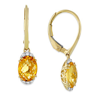 14K Yellow Gold Checkerboard Oval Citrine and Round Diamond Drop Earrings
