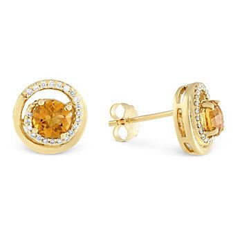 14K Yellow Gold Citrine & Round Diamond Swirl Earrings
