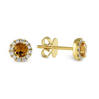 14K Yellow Gold Citrine and Diamond Halo Earrings