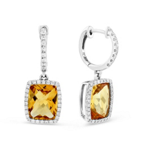 14K_White_Gold_Checkerboard_Citrine_and_Round_Diamond_Drop_Earrings