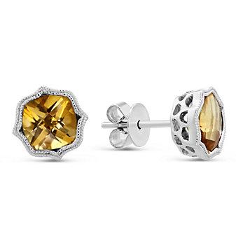 14K White Gold Cushion Citrine Earrings with Double Milgrain