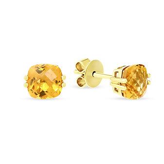 14K Yellow Gold Checkerboard Cushion Citrine Earrings