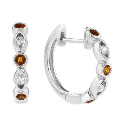 14k white gold citrine & diamond navette station hoop earrings
