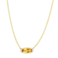 14K_Yellow_Gold_East_West_Oval_Checkerboard_Citrine_&_Round_Diamond_Necklace