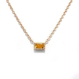 14K Yellow Gold Baguette Citrine Necklace