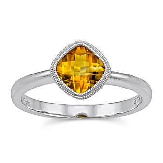 14K White Gold Cushion Checkerboard Citrine Bezel Set Ring