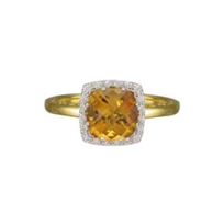 14K_Yellow_Gold_Checkerboard_Faceted_Citrine_and_Round_Diamond_Ring