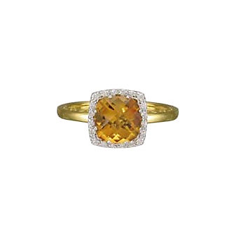 14K Yellow Gold Checkerboard Faceted Citrine and Round Diamond Ring