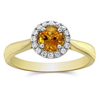 14K Yellow Gold Round Citrine and Diamond Halo Ring