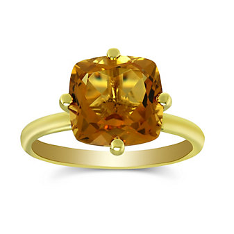 14K Yellow Gold Cushion Citrine Ring