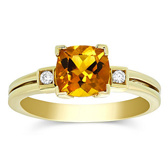 14K Yellow Gold Checkerboard Cushion Citrine and Round Diamond Ring