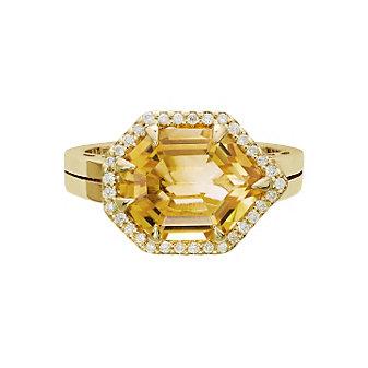 14K Yellow Gold Fancy Stepcut Citrine & Diamond Ring, 0.16cttw