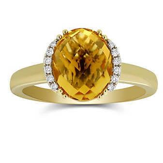 14K Yellow Gold Oval Checkerboard Citrine and Round Diamond Ring