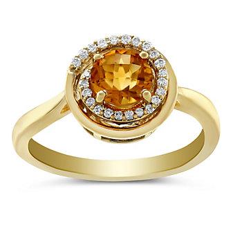 14K Yellow Gold Citrine and Diamond Swirl Ring