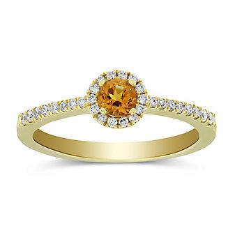14K Yellow Gold Citrine Diamond Halo Ring