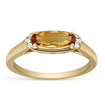 14K Yellow Gold Oval Citrine and Round Diamond Ring