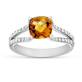 14K White Gold Cushion Checkerboard Citrine and Round Diamond Split Shoulder Ring